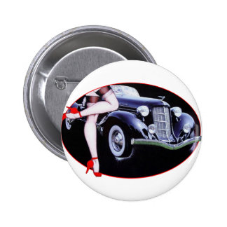 Speedster car red high heel shoes lady legs 2 inch round button