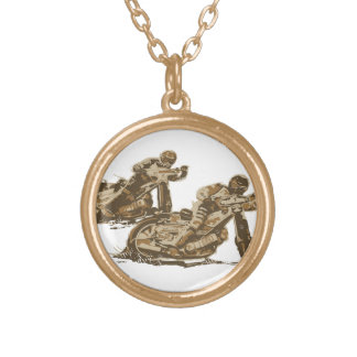 Speedway Motorcycle Racers Gold Plated Necklace