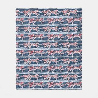 SPEEDY CHEETAHS Navy Safari Boho Chic Watercolor Fleece Blanket