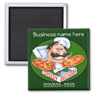 Speedy delivery pizza chef magnet