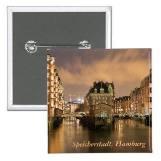 Speicherstadt, Hamburg 2 Inch Square Button