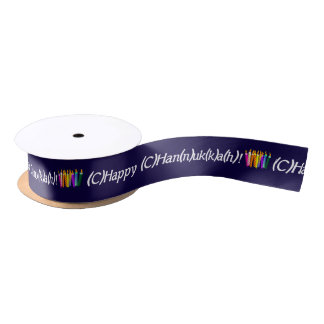 Spell Chanukah Colorful Satin Ribbon
