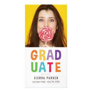 Spelled Out Fun Graduation Photo Card Announcement
