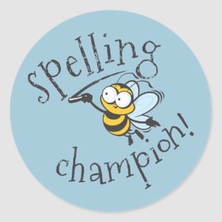Spelling Bee Champion Classic Round Sticker