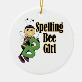spelling bee girl bumble bee cartoon ceramic ornament