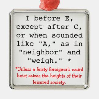 Spelling Rules: I before E Silver-Colored Square Ornament