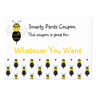 SpellingBee Bumble Bee Smarty Pants Coupon Business Card