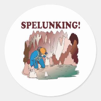 Spelunking 2 classic round sticker