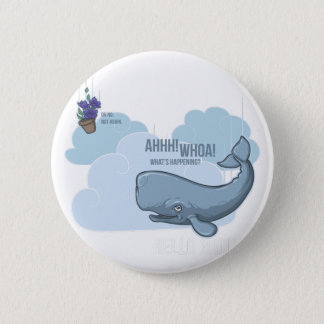 Sperm Whale and Bowl of Petunias 2 Inch Round Button