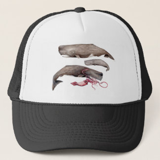 Sperm whale trio trucker hat