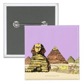 Sphinx and a Pyramid 2 Inch Square Button
