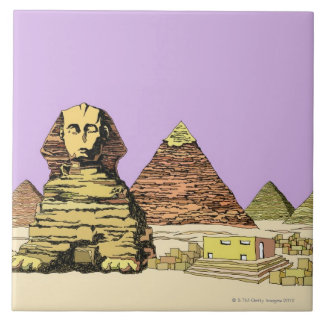 Sphinx and a Pyramid Ceramic Tiles