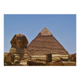 Sphinx And Pyramid Poster