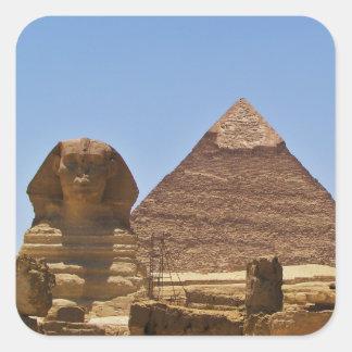 Sphinx And Pyramid Square Sticker
