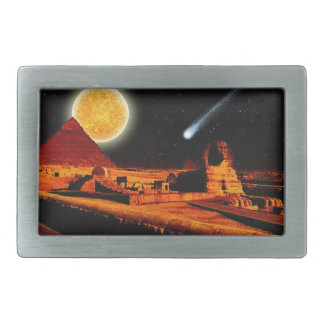 Sphinx & Moon over Egyptian Giza Pyramids Art Gift Rectangular Belt Buckles