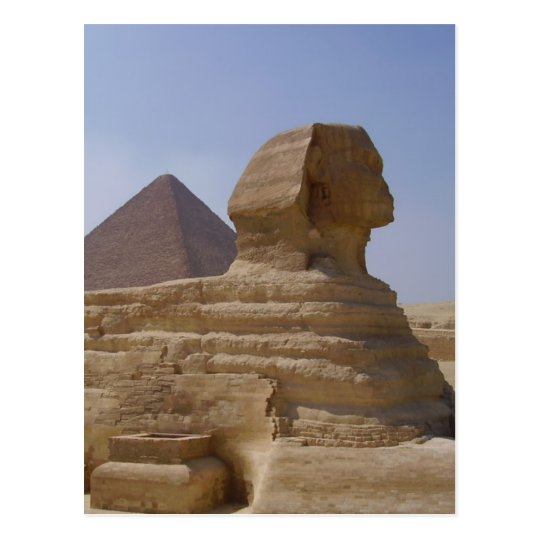 sphinx pyramid vertical postcard