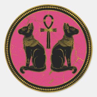 Sphynx Black & Gold Egyptian  cat on fuchsia Classic Round Sticker