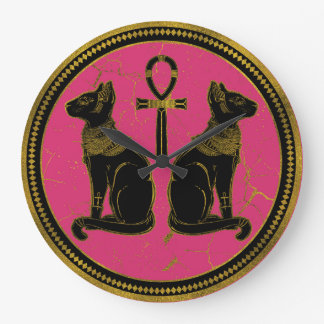 Sphynx Black & Gold Egyptian  cat on fuchsia Large Clock
