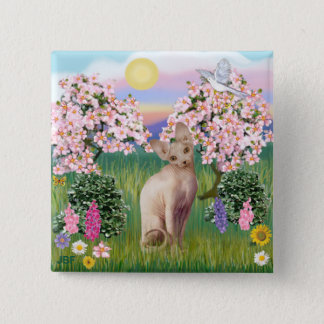 Sphynx Cat 1- Blossoms 2 Inch Square Button