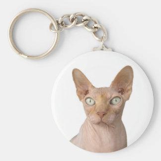 Sphynx Cat Basic Round Button Keychain