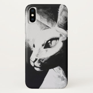 Sphynx Cat Black White Contrast Hairless Kitty Art iPhone X Case