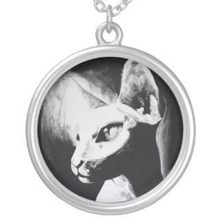 Sphynx Cat Black White Contrast Kitty Portrait Art Silver Plated Necklace