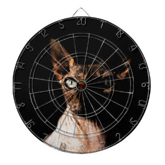 Sphynx cat dartboard with darts