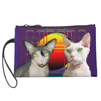 Sphynx Cat Devon Rex Cat Retro Purple Wristlet Purses