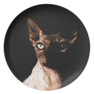 Sphynx cat dinner plate