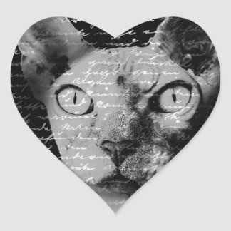 Sphynx cat heart sticker