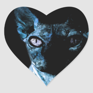 Sphynx cat heart sticker