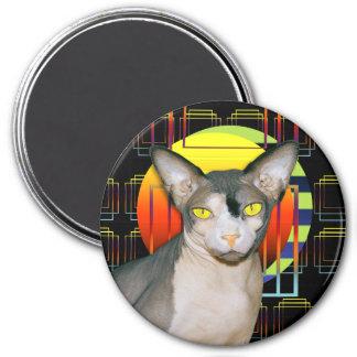Sphynx Cat Ninja Crazy Cat Design Black Geometric 3 Inch Round Magnet