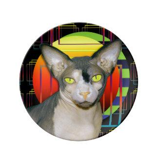 Sphynx Cat Ninja Crazy Cat Design Black Geometric Porcelain Plate