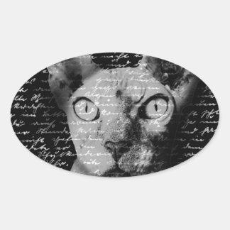 Sphynx cat oval sticker