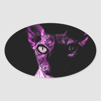 Sphynx cat oval sticker