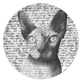 Sphynx cat party plate