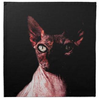 Sphynx cat printed napkins