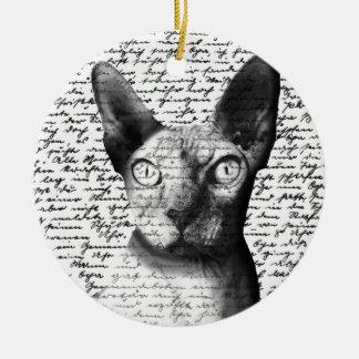 Sphynx cat round ceramic ornament