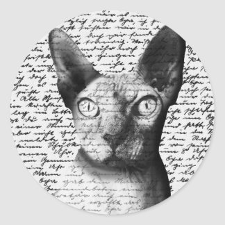 Sphynx cat round sticker