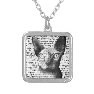 Sphynx cat silver plated necklace