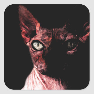 Sphynx cat square sticker