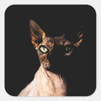 Sphynx cat square sticker