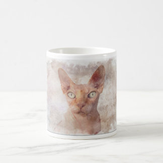 Sphynx Cat Watercolor. Coffee Mug