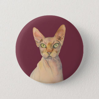 Sphynx Cat Watercolor Portrait 2 Inch Round Button