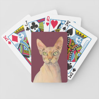 Sphynx Cat Watercolor Portrait Bicycle Playing Cards