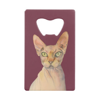 Sphynx Cat Watercolor Portrait Credit Card Bottle Opener