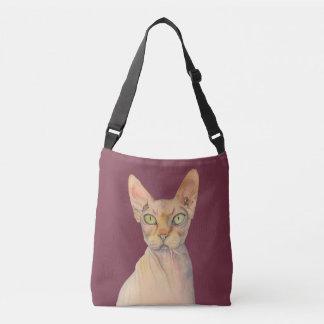 Sphynx Cat Watercolor Portrait Crossbody Bag