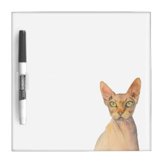 Sphynx Cat Watercolor Portrait Dry Erase Board