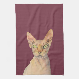 Sphynx Cat Watercolor Portrait Kitchen Towel