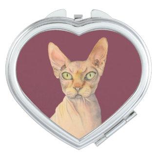 Sphynx Cat Watercolor Portrait Mirror For Makeup